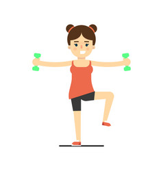 Sporty girl doing exercise with dumbbells vector