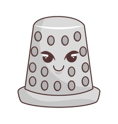 Thimble tool character comic icon vector