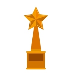 Trophy star golden with plate vector