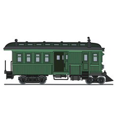 Vintage green motor railcar vector