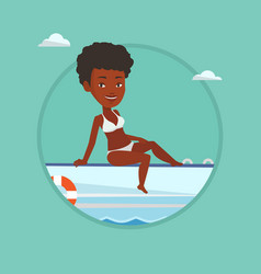 young happy woman tanning on sailboat vector image vector image