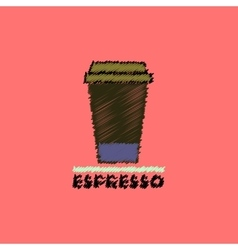 Flat icon design collection cup of espresso vector