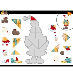 Jigsaw puzzle with santa claus vector