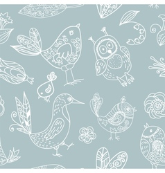 Birds seamless silhouette pattern vector image