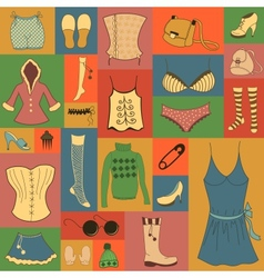 Retro hipsters clothes set vector