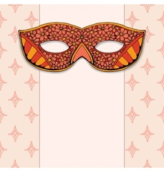 Masquerade mask on a rose background vector