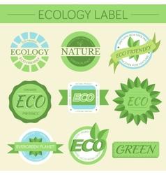 green eco nature label print set vector image