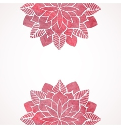 Watercolor pink lace floral patterns on white vector
