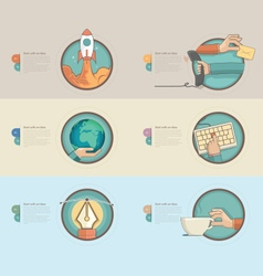 Colorful banners with concept icons for business vector