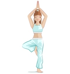 Beautiful girl yoga yoga asana tree pose vector