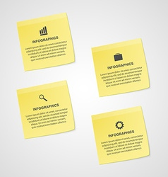 Abstract yellow note paper options infographics vector