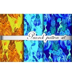Gold blue peacock feathers abstract seamless vector