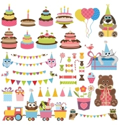 Birthday party elements set with cake sweets and vector
