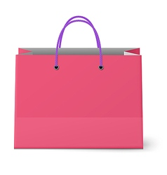 Classic shopping pink bag with violet grips vector