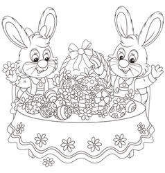 Rabbits with an easter basket vector