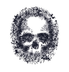 Black and white human skull vector