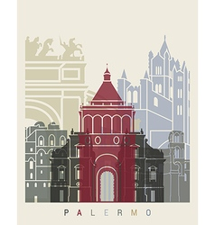 Palermo skyline poster vector