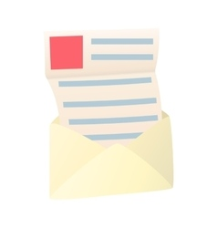 Open envelope with sheet of paper icon vector