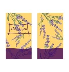Set invitation cards with flower frame lavender vector