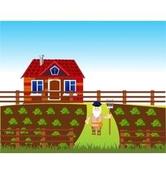 Area with vegetable garden vector