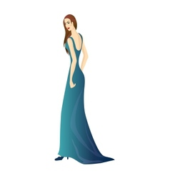 Beautiful girl in aquamarine blue dress vector image vector image
