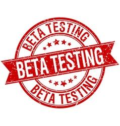 Beta testing grunge retro red isolated ribbon vector