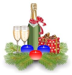 champagne gift box christmas vector image