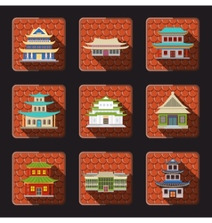 Chinese house icons tile vector image vector image