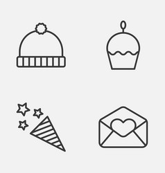 Christmas icons set collection of firecracker vector