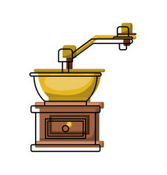 Coffee grinding with crank in front view colorful vector