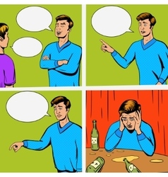 Comic strip with debate of two persons vector image vector image