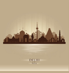 delhi india city skyline silhouette vector image vector image
