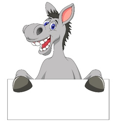 Donkey cartoon with blank sign vector image vector image