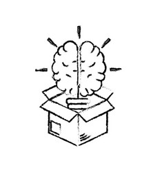 Figure box with creative bulb brain inside vector