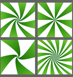 Green spiral ray and starburst background set vector