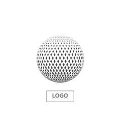 halftone 3d sphere isolated on white background vector image vector image
