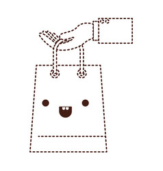 Hand holding a trapezoid kawaii shopping bag in vector
