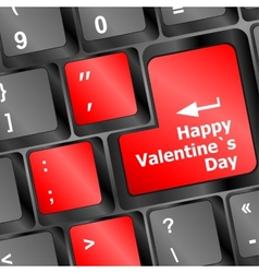 happy valentine s day button on the keyboard - vector image