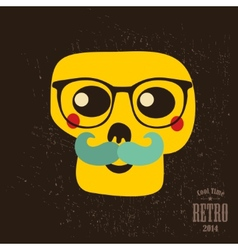 Hipster skull in glasses vector