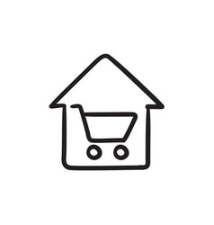 House shopping sketch icon vector