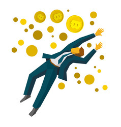 jumping businessman catch a gold bitcoins vector image vector image