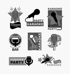 karaoke club disco party labels templates of vector image vector image