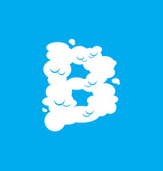 Letter b cloud font symbol white alphabet sign on vector