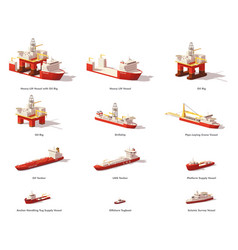 Low poly offshore oil exploration vessels vector