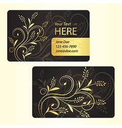 Luxury business card with golden floral decoration vector image