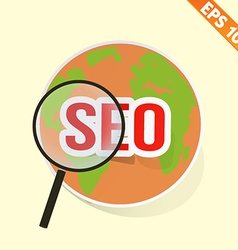Magnifier Enlarges earth for search concept - vector image