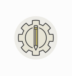 Pencil and gear icon vector