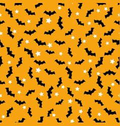 seamless pattern with bats flying in the orange vector image