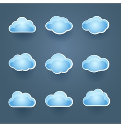 Set of blue cloud icons vector image vector image