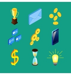 Set of nine isometric icons vector